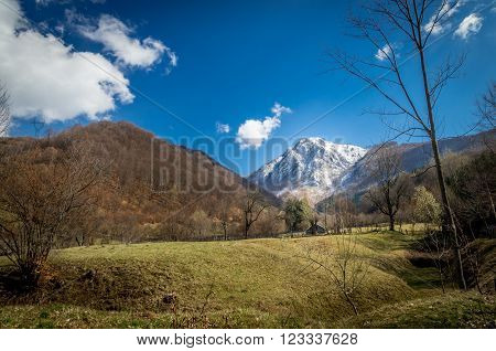 Panoramic view of beautiful mountain landscape in spring. Springtime in mountains. There are a chalet in the meadow.