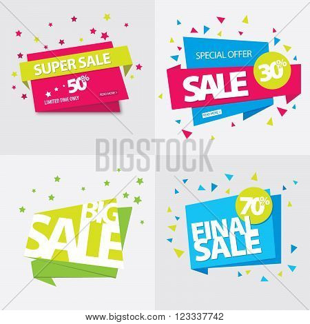 Set of sale banner. Big sale. Super sale. Sale tag.