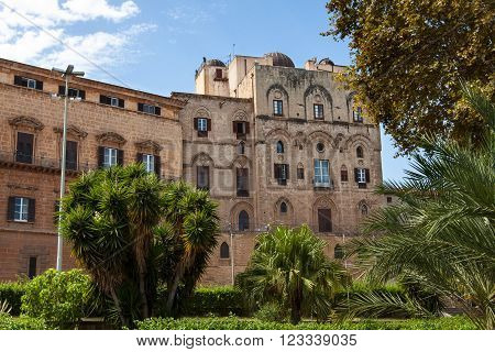view of the famous Palazzo dei Normanni Royal Palace in Palermo