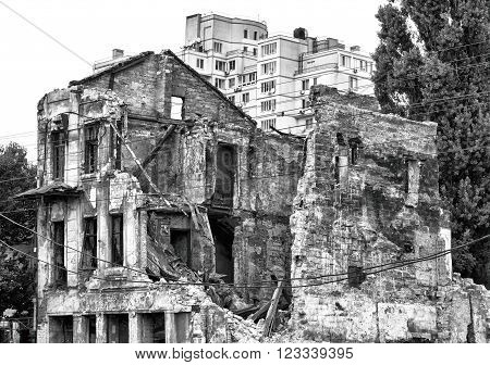 Old Ruined House In City After Bombing Black And White Hdr Effect