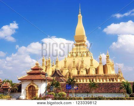 Vientiane, Laos - December 18, 2013: Wat Pha That Luang stupa in Vientiane, Laos.