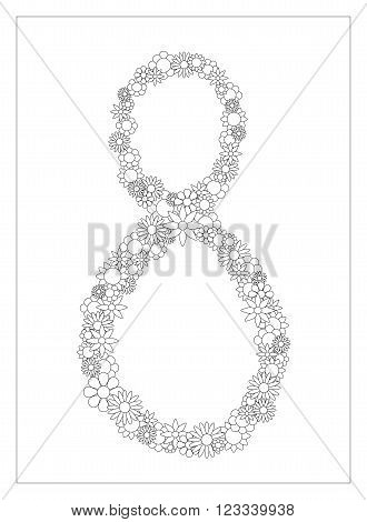 Floral number 8, number eight from flowers coloring page vector illustration, DIY postcard with the place for text, black and white flower ornament for typography