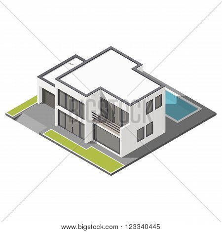 Modern two-story house with flat roof sometric icon set vector graphic illustration