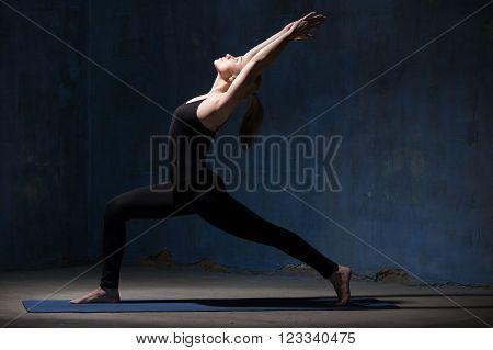 Beautiful Yoga Woman Doing Warrior One Pose