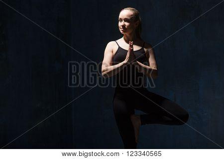 Beautiful Yoga Woman Doing Vrksasana Pose