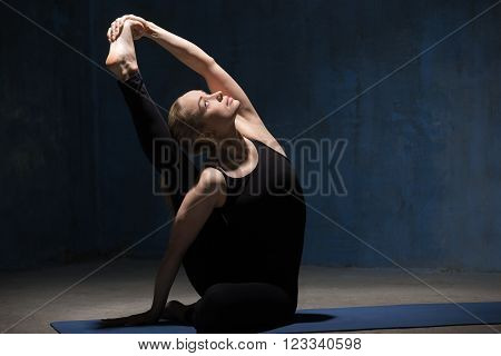Beautiful Yoga Woman Doing Compass Pose