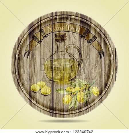 bottle of olive oil olives and olive branch on wooden background.hand drawn
