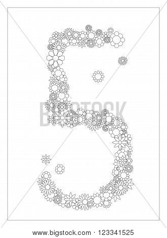 Floral number 5, number five from flowers coloring page vector illustration, DIY postcard with the place for text, black and white flower ornament for typography
