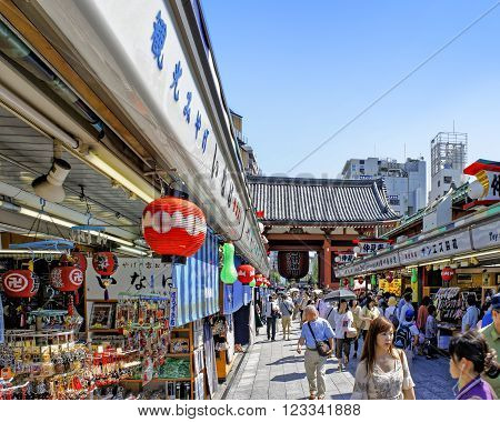 ASAKUSA, JAPAN - JULY 09, 2012 : View of Nakamise Shopping Street stretches near the Sensoji Temple - the oldest Buddhist temple in Tokyo.