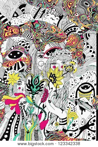 psychedelic colorful doodle background
