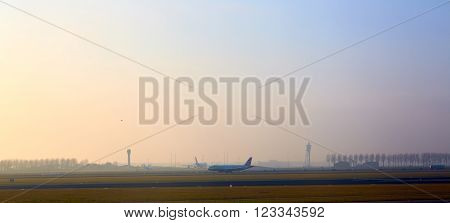 The Airplane departing from Amsterdam Airport Schiphol.