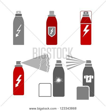 Antistatic spray icons in gray color isolated on a white background in flat simple style. Vector illustration. Pictogram collection