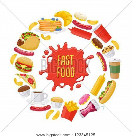 Beautiful  fast food icons round background. Cheeseburger pizza tea coffee cola chips pancakes donuts french fries hot dog taco muffin mustard ketchup vector illustration.