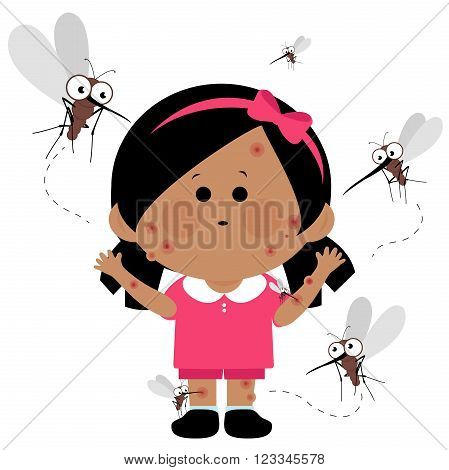 Vector illustration of a girl with red itchy skin with mosquito bites. Mosquitoes flying around her and biting her.