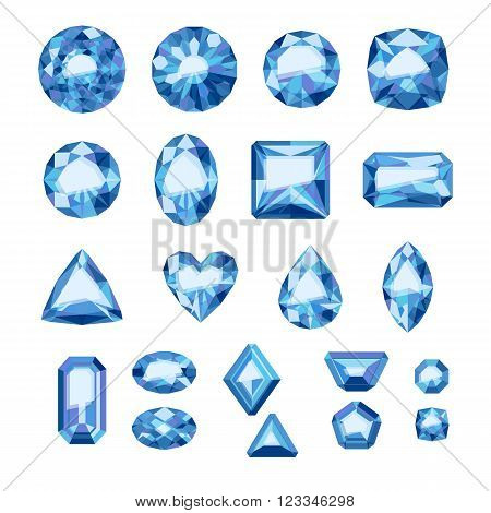 Set of flat style blue jewels. Colorful gemstones. Sapphires isolated on white background.