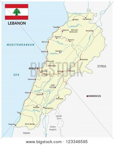 a detailed road map of lebanon country with flag