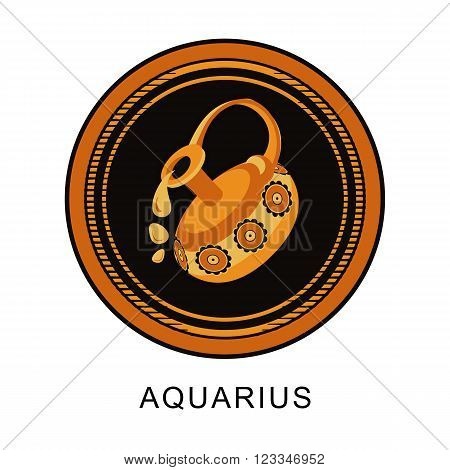 vector illustration of the zodiac Aquarius horoscope in vintage round frame