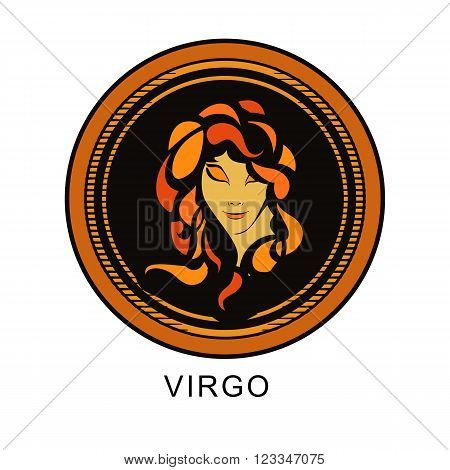 astrological sign Virgo on a round shape in different colors