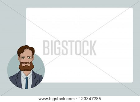 Presentation with business people. Vector illustration character with bubble talk. Modern flat design concepts for web banners web sites printed materials infographics startup marketing.