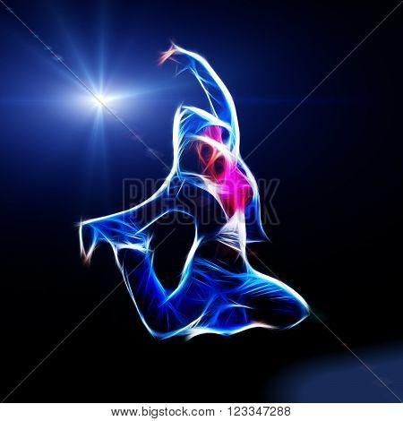 Female hip-hop dancer jump in the dark fractal illustration