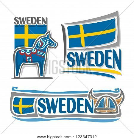 Vector illustration of the logo for Sweden, consisting of 3 isolated illustrations: state flag over blue Dalarna horse, symbol of Sweden and the flag on background of viking helmet