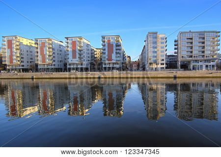 Stockholm, Sweden - March, 16, 2016: landscape with the image of Stockholm, Sweden