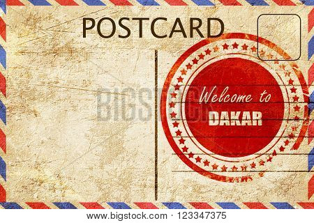 Vintage postcard Welcome to dakar with some smooth lines