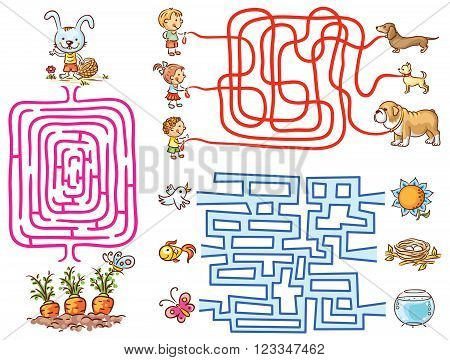 Labyrinth games set for preschoolers: find the way or match elements colorful cartoon