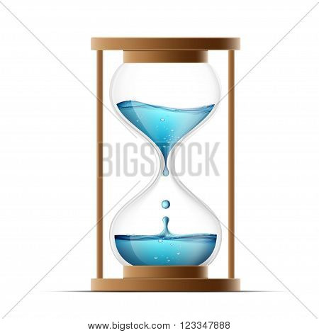 Hourglass with water. Water drips into the watch. Countdown. Isolated on white background. Stock vector illustration.