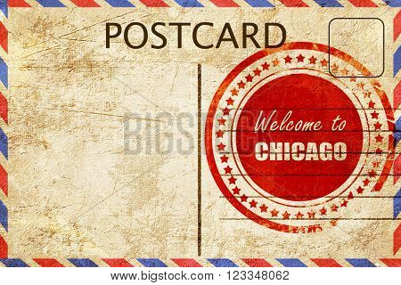 Vintage postcard Welcome to chicago with some smooth lines