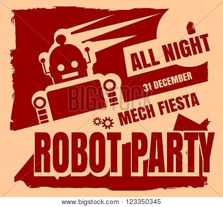 Retro robot party poster. Mech fiesta. Abstract robot silhouette