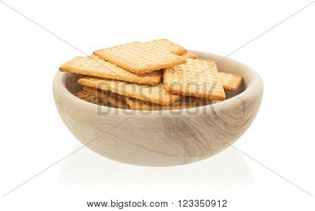 Simple Crackers In A Wooden Bowl