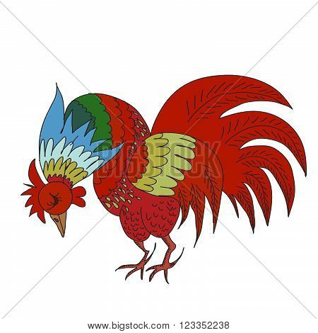 Hand drawn vector background with rooster. 2017 is the year of Red Fire Chicken on Chinese zodiac. Can use them for greeting card, prints, calendar, poster, wall paper, wrapping.