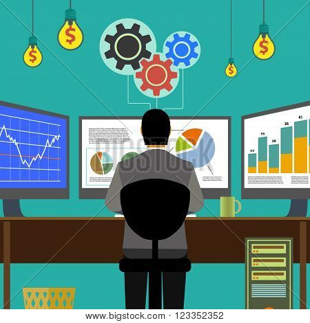 Financial graphs and charts. Monitor computer work place broker. Stock Exchange. Make money. Stock vector illustration.