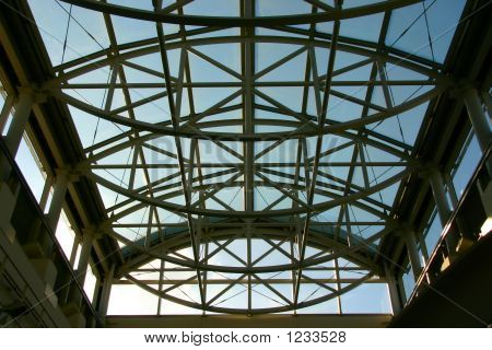 Modern Building Roof Showing Blue Sky And Metal Girders