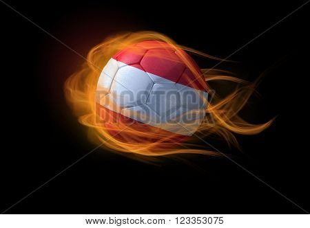 Soccer ball with the national flag of Austria on fire, 3D Illustration