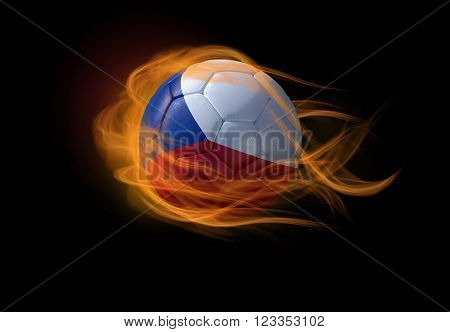 Soccer ball with the national flag of Czech on fire, 3D Illustration