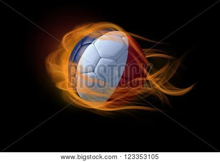 Soccer ball with the national flag of France on fire, 3D Illustration