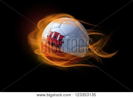 Soccer ball with the national flag of Gibraltar on fire, 3D Illustration