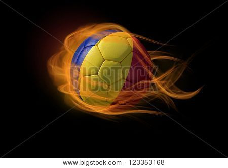 Soccer ball with the national flag of Romania on fire, 3D Illustration