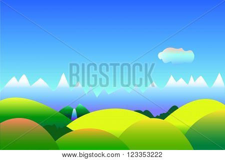 Simple optimistic landscape vector background with space for text, vector illustration in blue and green with mountains and hills, wallpapers or postcard