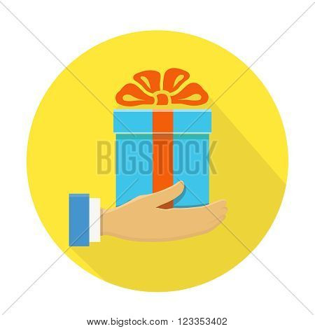 Isolated round flat icon of a hand holding a blue gift box  on yellow vector