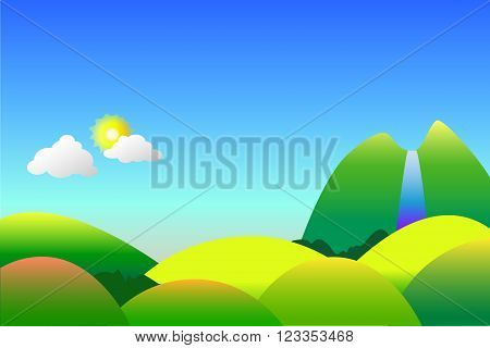 Peaceful nature landscape vector background or wallpapers with the hills, sun and waterfall, nursery style illustration with the place for text
