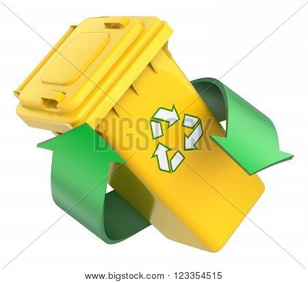 Recycling concept with recycle bin and green arrows - 3D illustration