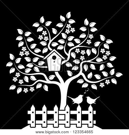 vector flowering tree with nesting bird box and picket fence with couple of birds isolated on black background