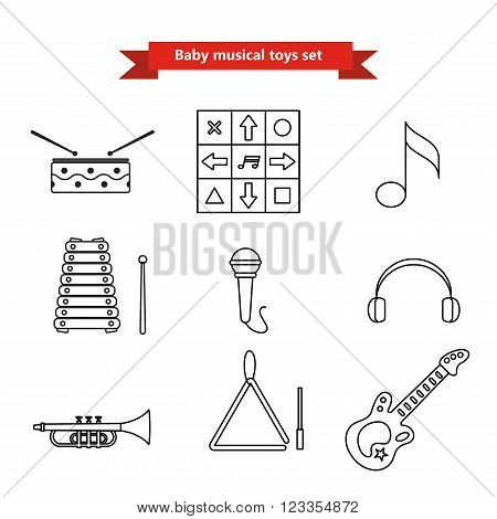 Set of vector icons of musical instrumen. Vector illustration in a line style. Collection  vector elements for web design, mobile applications, design flyers, discounts and advertising
