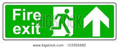 A view of a Fire exit up sign