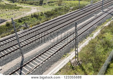 Top view of the train tracks, transportation and travel