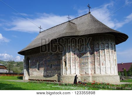 Gura Humorului,Romania- April 30, 2014: Moldavian medieval Monastery of Humor/ Moldavia's painted monasteries. Gura HumoruluiRomania
