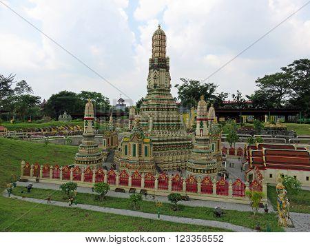 JOHOR MALAYSIA  - NOVEMBER 11 2014:  Wat Arun is a Buddhist Temple on the Chao Phraya River in Bangkok Thailand LEGOLAND MINILAND Malaysia Theme Park November 11, 2014  in Johor, Malaysia